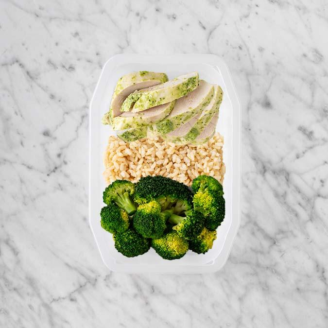 100g Garlic Herb Chicken Breast 50g Brown Rice 250g Broccoli