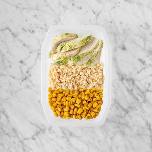 100g Garlic Herb Chicken Breast 150g Brown Rice 100g Corn