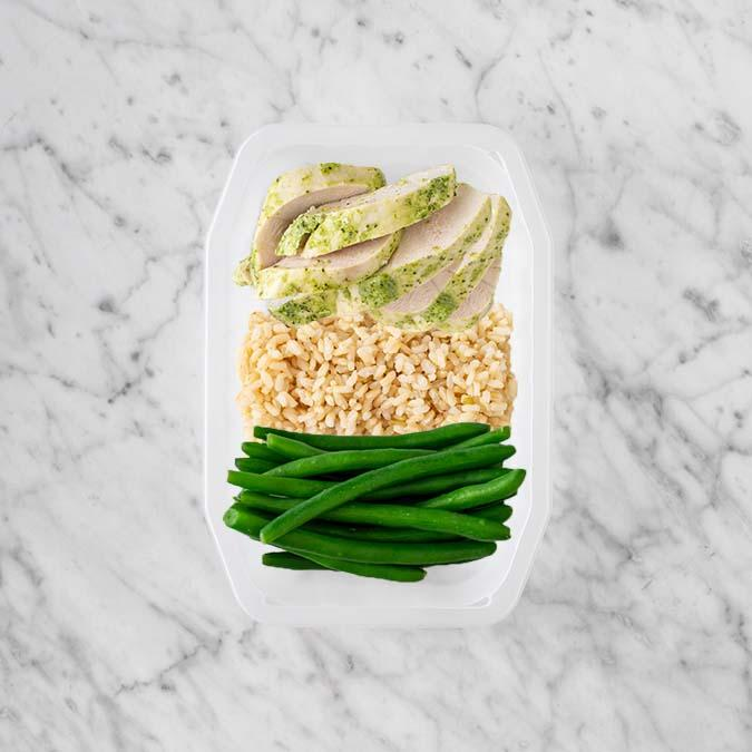 100g Garlic Herb Chicken Breast 50g Brown Rice 250g Green Beans