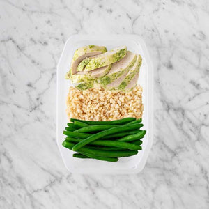 100g Garlic Herb Chicken Breast 50g Brown Rice 200g Green Beans