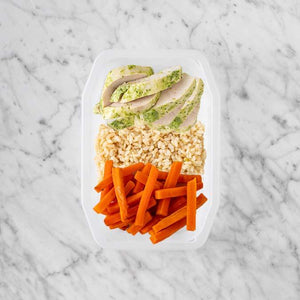 100g Garlic Herb Chicken Breast 150g Brown Rice 50g Honey Baked Carrots