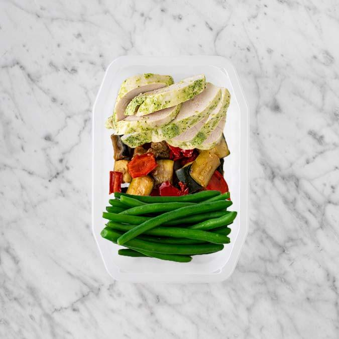 100g Garlic Herb Chicken Breast 50g Char Veg 200g Green Beans