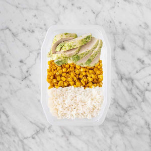 100g Garlic Herb Chicken Breast 50g Corn 50g Basmati Rice