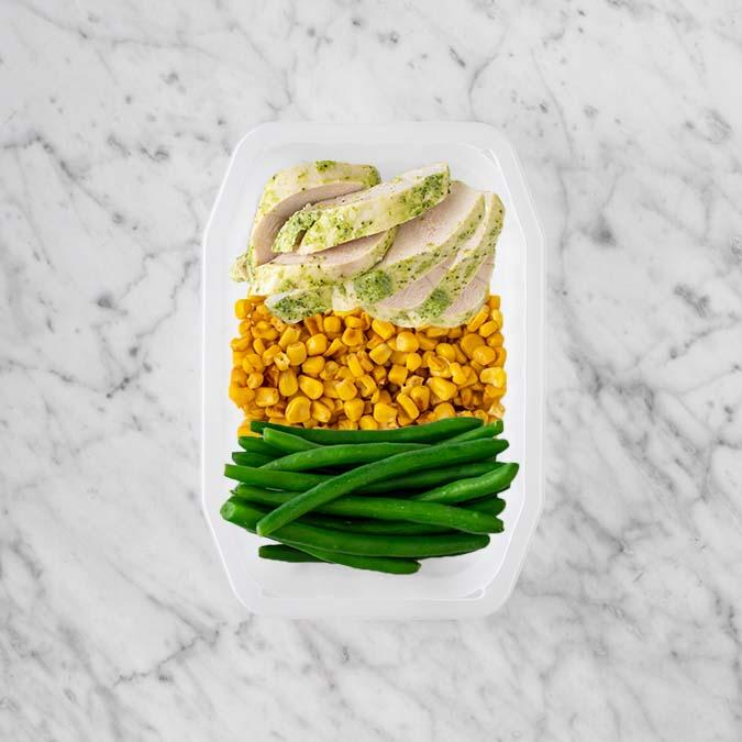 100g Garlic Herb Chicken Breast 100g Corn 150g Green Beans