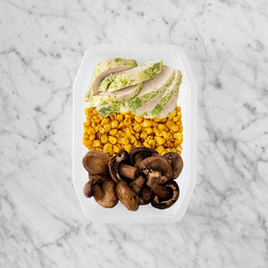 100g Garlic Herb Chicken Breast 50g Corn 150g Mushrooms