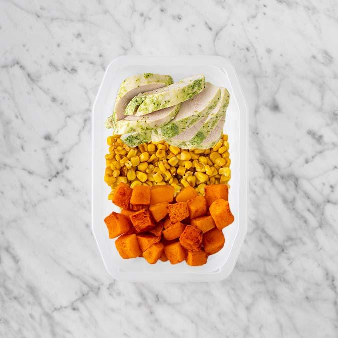 100g Garlic Herb Chicken Breast 100g Corn 200g Rosemary Baked Sweet Potato