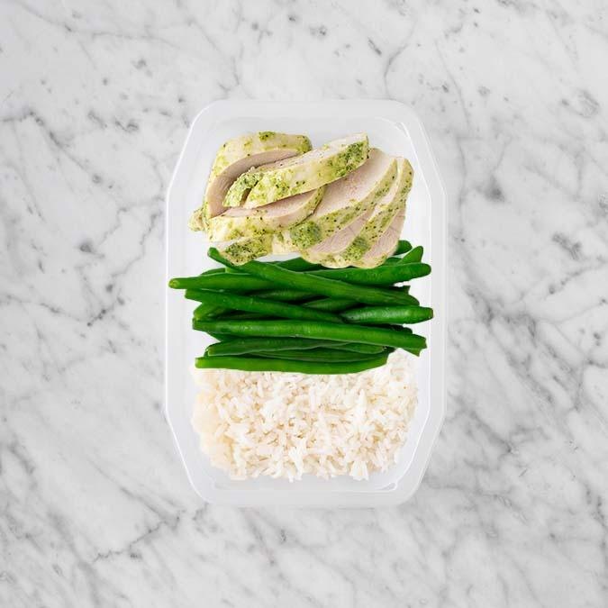100g Garlic Herb Chicken Breast 50g Green Beans 50g Basmati Rice