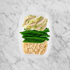 100g Garlic Herb Chicken Breast 100g Green Beans 250g Brown Rice