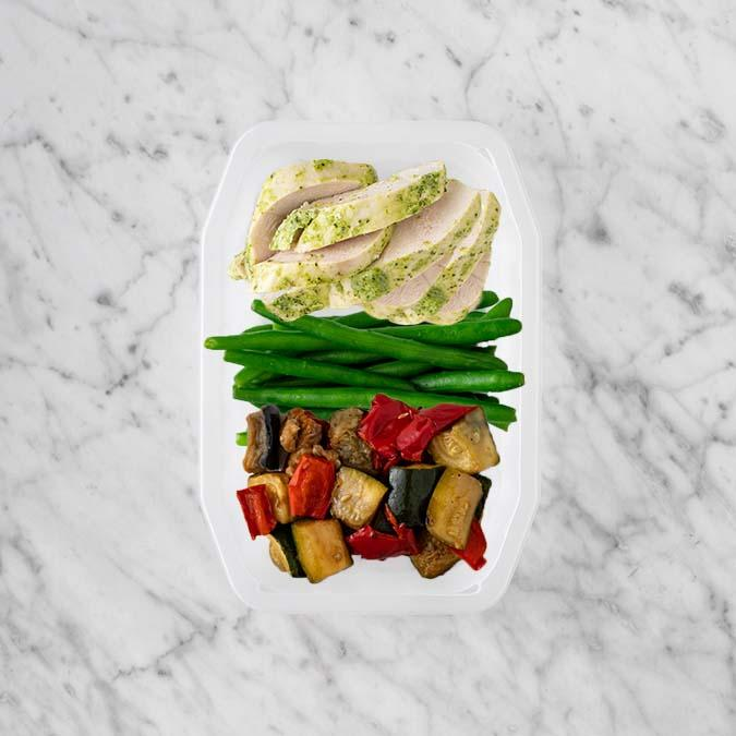 100g Garlic Herb Chicken Breast 50g Green Beans 50g Char Veg