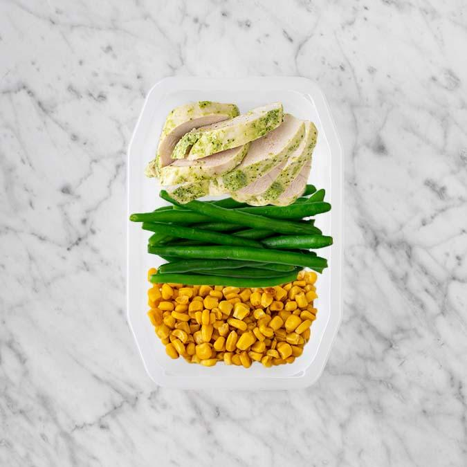 100g Garlic Herb Chicken Breast 50g Green Beans 100g Corn