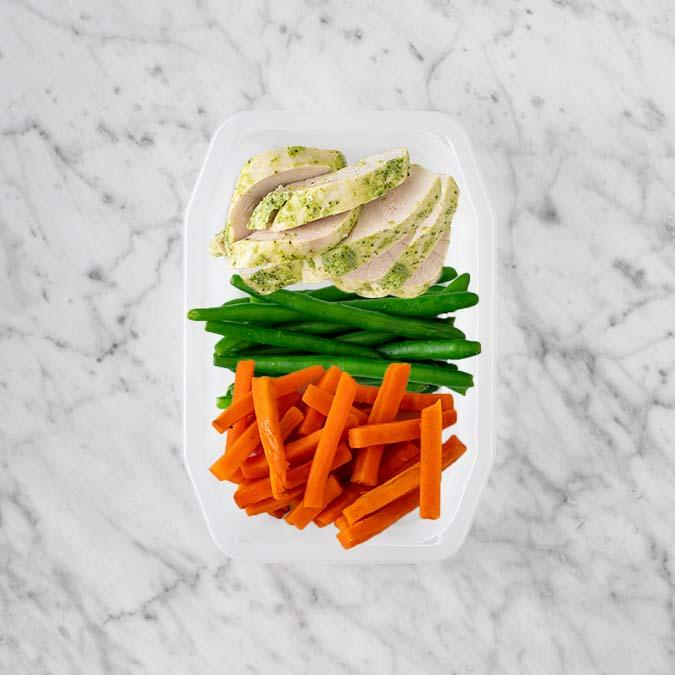 100g Garlic Herb Chicken Breast 50g Green Beans 100g Honey Baked Carrots