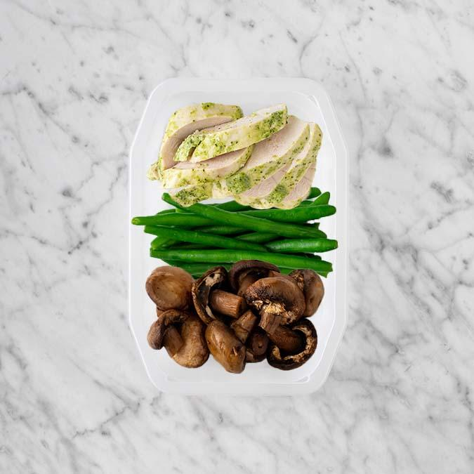 100g Garlic Herb Chicken Breast 50g Green Beans 150g Mushrooms
