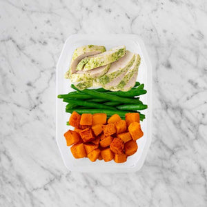 100g Garlic Herb Chicken Breast 50g Green Beans 50g Rosemary Baked Sweet Potato