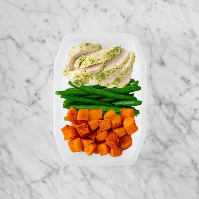 100g Garlic Herb Chicken Breast 100g Green Beans 50g Rosemary Baked Sweet Potato