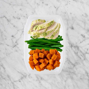 100g Garlic Herb Chicken Breast 50g Green Beans 100g Smokey Pumpkin