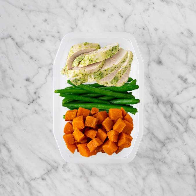 100g Garlic Herb Chicken Breast 150g Green Beans 150g Smokey Pumpkin