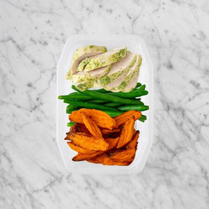 100g Garlic Herb Chicken Breast 50g Green Beans 150g Sweet Potato Fries
