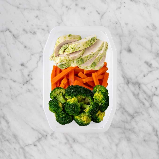 100g Garlic Herb Chicken Breast 100g Honey Baked Carrots 250g Broccoli