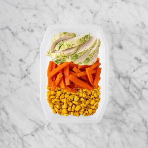 100g Garlic Herb Chicken Breast 100g Honey Baked Carrots 150g Corn