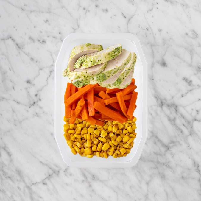 100g Garlic Herb Chicken Breast 50g Honey Baked Carrots 250g Corn