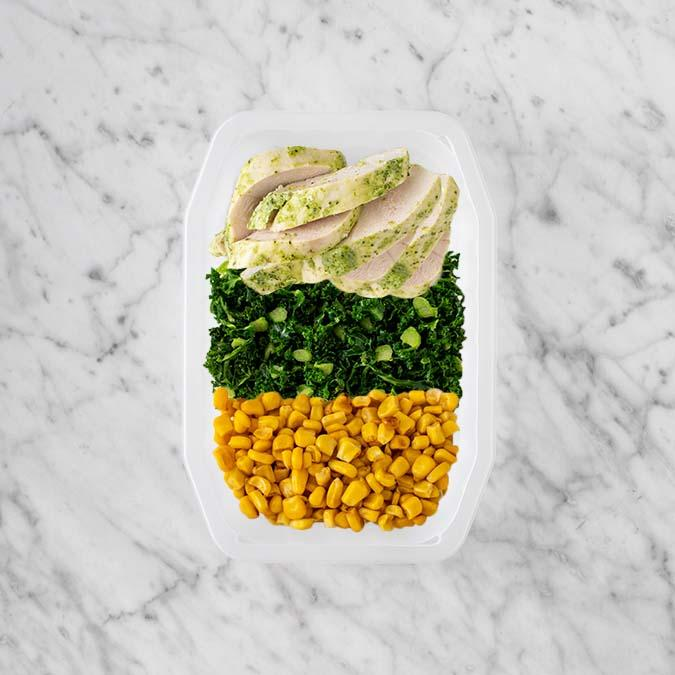100g Garlic Herb Chicken Breast 50g Kale 250g Corn