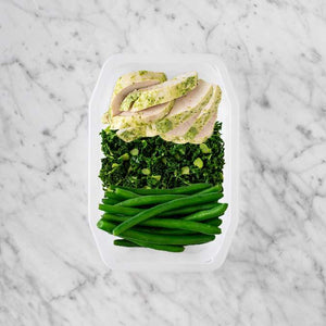 100g Garlic Herb Chicken Breast 50g Kale 150g Green Beans