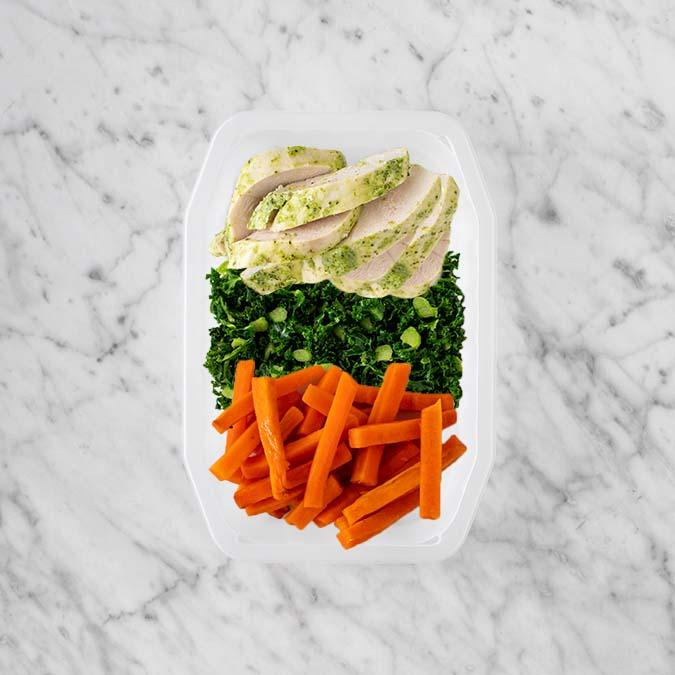 100g Garlic Herb Chicken Breast 100g Kale 100g Honey Baked Carrots