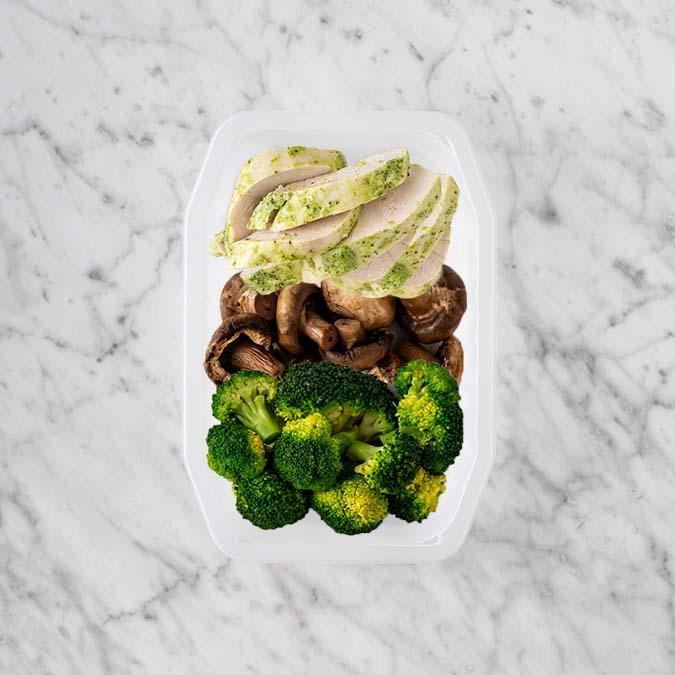 100g Garlic Herb Chicken Breast 100g Mushrooms 150g Broccoli