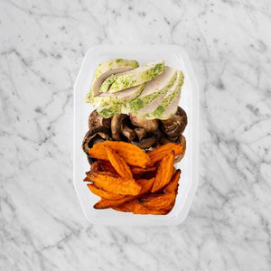 100g Garlic Herb Chicken Breast 50g Mushrooms 50g Sweet Potato Fries