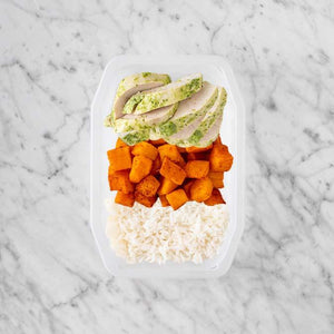 100g Garlic Herb Chicken Breast 150g Rosemary Baked Sweet Potato 250g Basmati Rice