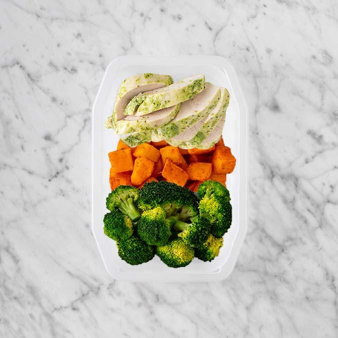 100g Garlic Herb Chicken Breast 50g Rosemary Baked Sweet Potato 250g Broccoli