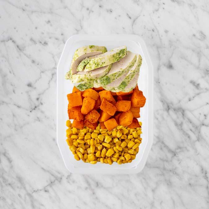 100g Garlic Herb Chicken Breast 50g Rosemary Baked Sweet Potato 50g Corn