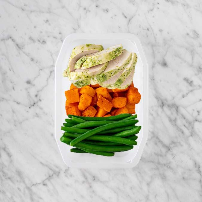 100g Garlic Herb Chicken Breast 100g Rosemary Baked Sweet Potato 250g Green Beans