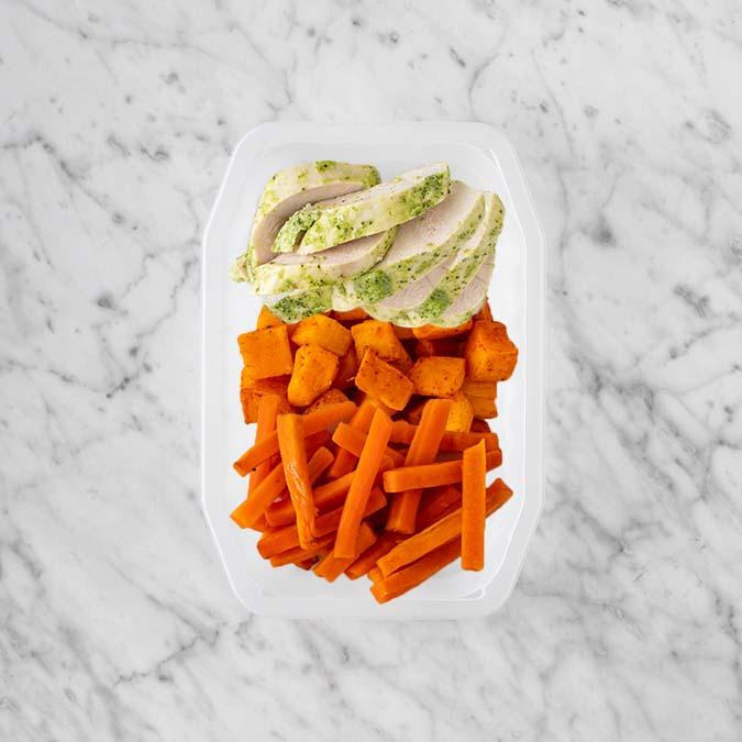 100g Garlic Herb Chicken Breast 150g Rosemary Baked Sweet Potato 250g Honey Baked Carrots