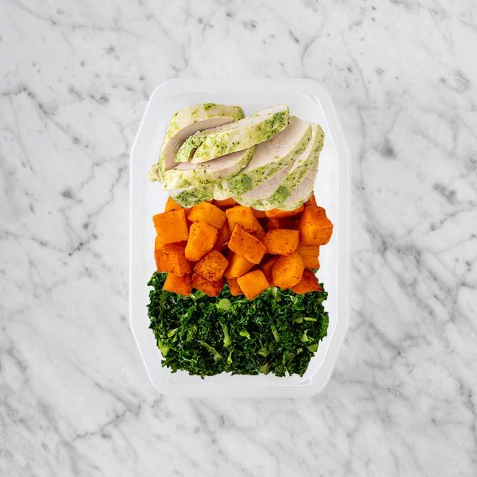 100g Garlic Herb Chicken Breast 150g Rosemary Baked Sweet Potato 150g Kale