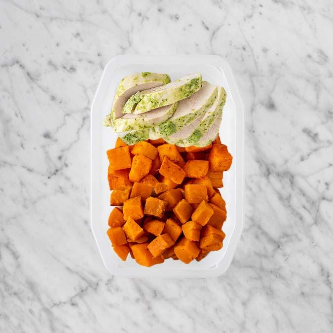 100g Garlic Herb Chicken Breast 50g Rosemary Baked Sweet Potato 50g Smokey Pumpkin