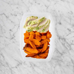 100g Garlic Herb Chicken Breast 50g Rosemary Baked Sweet Potato 150g Sweet Potato Fries