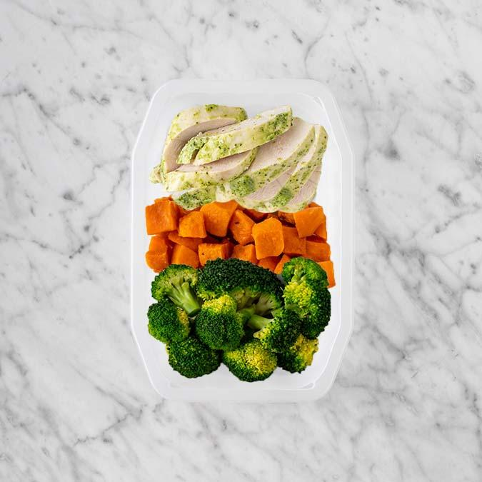 100g Garlic Herb Chicken Breast 50g Smokey Pumpkin 150g Broccoli
