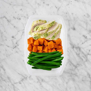 100g Garlic Herb Chicken Breast 50g Smokey Pumpkin 150g Green Beans