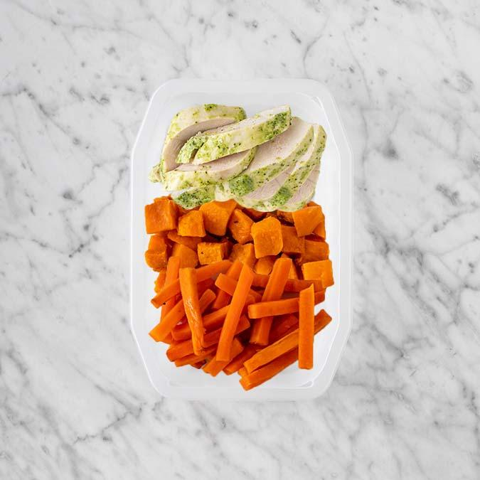 100g Garlic Herb Chicken Breast 50g Smokey Pumpkin 200g Honey Baked Carrots