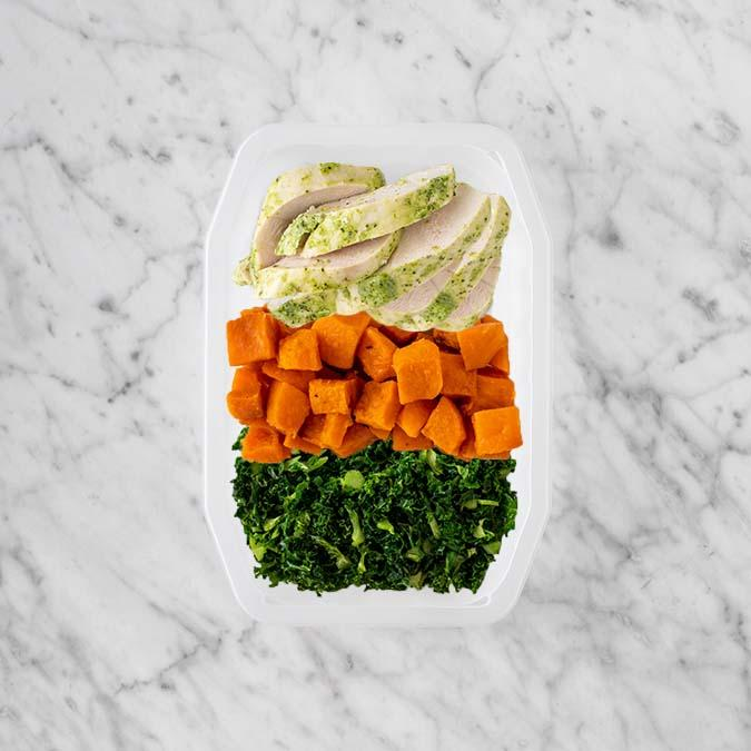 100g Garlic Herb Chicken Breast 50g Smokey Pumpkin 200g Kale