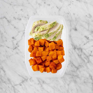 100g Garlic Herb Chicken Breast 50g Smokey Pumpkin 250g Rosemary Baked Sweet Potato
