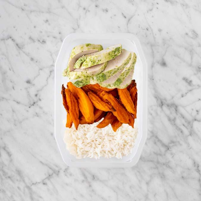 100g Garlic Herb Chicken Breast 150g Sweet Potato Fries 50g Basmati Rice