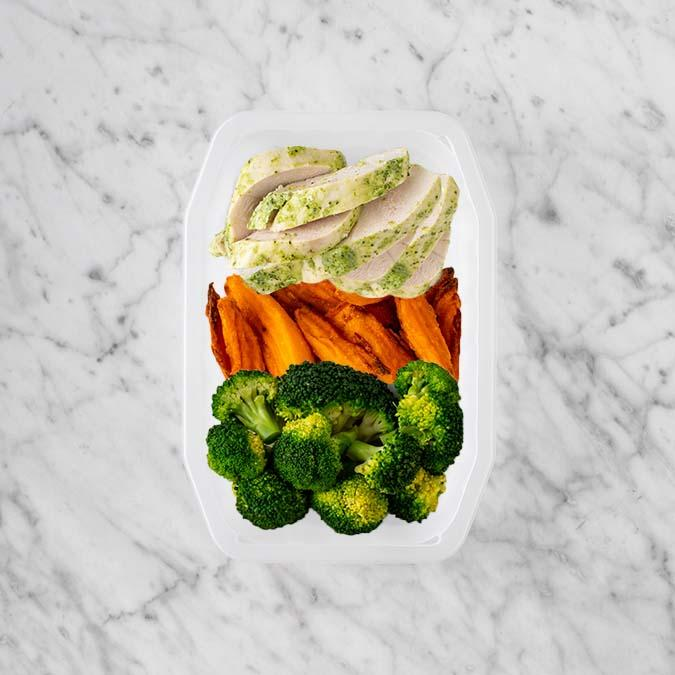 100g Garlic Herb Chicken Breast 150g Sweet Potato Fries 100g Broccoli