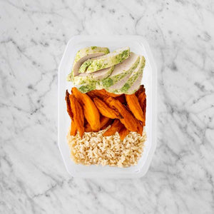 100g Garlic Herb Chicken Breast 50g Sweet Potato Fries 250g Brown Rice
