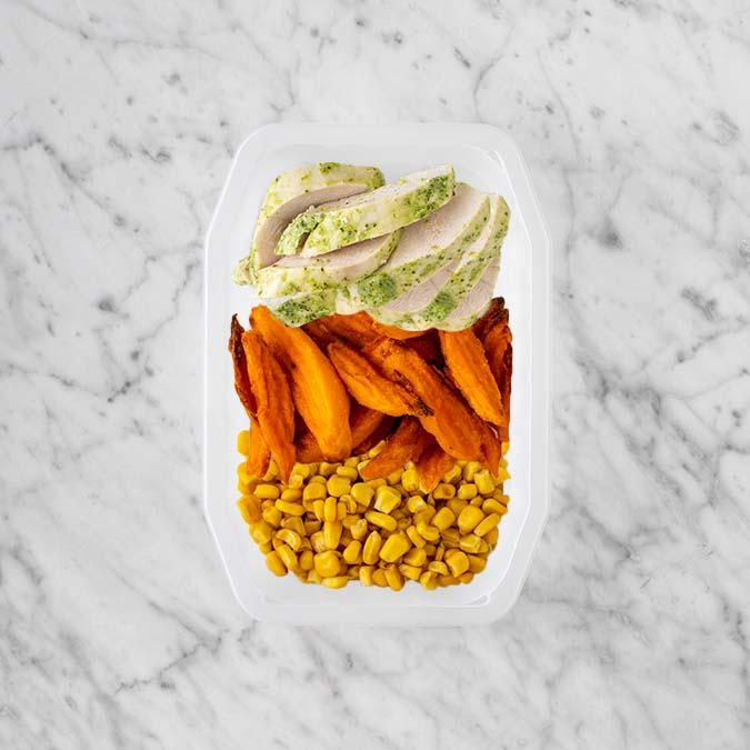 100g Garlic Herb Chicken Breast 50g Sweet Potato Fries 250g Corn