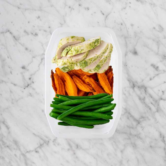 100g Garlic Herb Chicken Breast 50g Sweet Potato Fries 250g Green Beans
