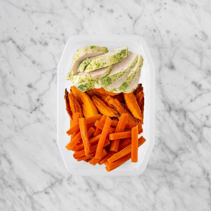 100g Garlic Herb Chicken Breast 150g Sweet Potato Fries 200g Honey Baked Carrots