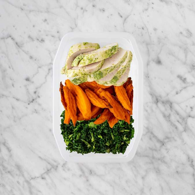 100g Garlic Herb Chicken Breast 150g Sweet Potato Fries 100g Kale