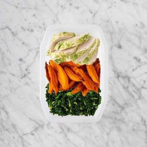 100g Garlic Herb Chicken Breast 50g Sweet Potato Fries 100g Kale